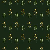 naadloze bloemmotief met bloemen en bladeren op groene achtergrond.