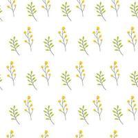 naadloze bloemmotief met bloemen en bladeren op witte achtergrond.