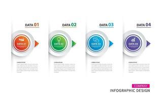 infographics tijdlijn cirkel papier met 4 gegevenssjabloon set vector