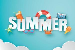 hallo zomer met decoratie origami op blauwe hemelachtergrond vector