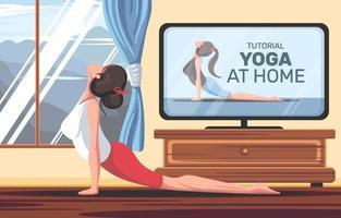 vrouw die yoga thuis doet