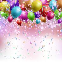 Ballonnen, confetti en streamers achtergrond vector
