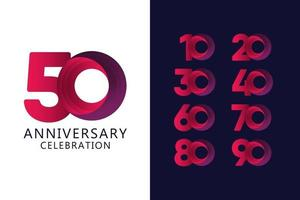 50 jaar verjaardag viering rood logo vector sjabloon ontwerp illustratie