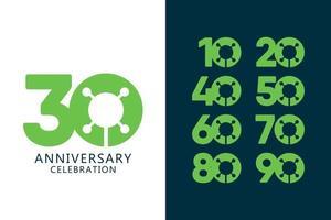 30 jaar verjaardag viering groene logo vector sjabloon ontwerp illustratie