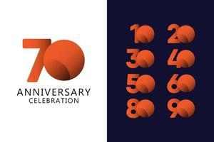70 jaar verjaardag viering oranje logo vector sjabloon ontwerp illustratie