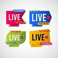 live streaming tag label vector sjabloonontwerp illustratie