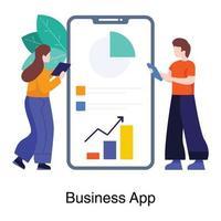 mobiele app in bedrijfsconceptenset vector