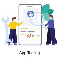 concept voor het testen van mobiele applicaties vector