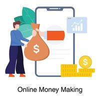 online geld verdienen concept vector