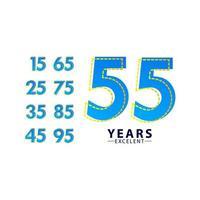 55 jaar uitstekende verjaardag viering blauwe dash vector sjabloon ontwerp illustratie