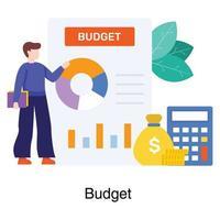 financieel manager die het concept van het begrotingsrapport toont vector