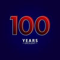 100 jaar uitstekende verjaardag viering rode dash lijn vector sjabloon ontwerp illustratie