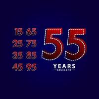 55 jaar uitstekende verjaardag viering rode dash lijn vector sjabloon ontwerp illustratie