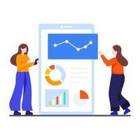 vrouwelijke analisten die bedrijfspresentatieconcept geven