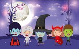 Halloween-kaart met kinderen in kostuums voor trick or treat