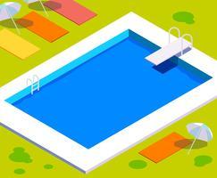 Vintage zwembad illustratie vector