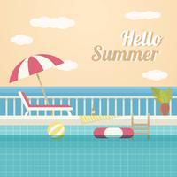 Vintage zwembad Vector