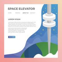 minimalistische 2D-ruimtelift met moderne melkweg achtergrond vectorillustratie vector
