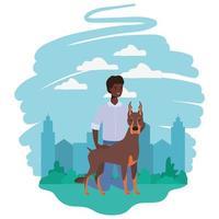 jonge afro man met schattige hond mascotte in het kamp vector