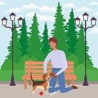 jonge man met schattige hond mascotte in het park vector