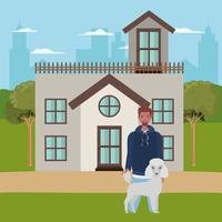 jonge man met schattige hond mascotte in het buitenhuis vector