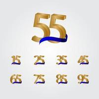 55 jaar verjaardag viering nummer gouden vector sjabloon ontwerp illustratie