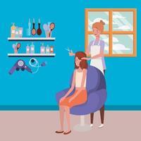 stylist die het haar van de klant in de salon doet vector