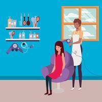 afro stylist die het haar van de klant in de salon doet vector
