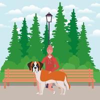 jonge vrouw met schattige hond mascotte in het park vector