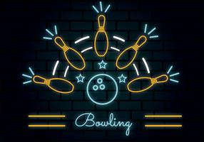 neon bowling vector ontwerp