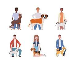 jonge mensen met schattige honden mascottes karakters vector