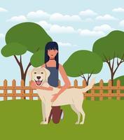 jonge vrouw met schattige hond in het veld vector