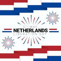 Platte patriottische poster voor de dag van de onafhankelijkheid van Nederland vector