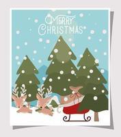 vrolijke kerstkaart met rendieren en slee vector