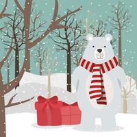 vrolijke kerstkaart met ijsbeer vector