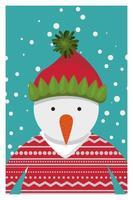 vrolijke kerstkaart met sneeuwpop karakter vector
