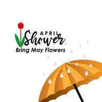 april douches brengen mei bloemen vector sjabloonontwerp illustratie