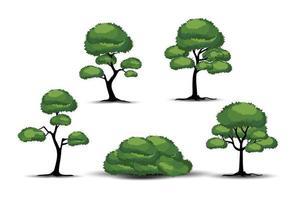 realistische bomen op witte achtergrond.