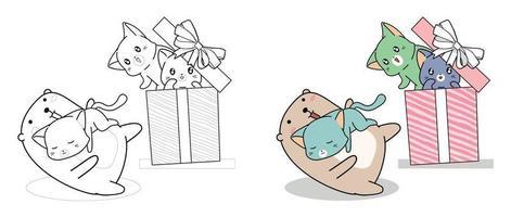 kawaii beer en katten in de geschenkdoos, cartoon kleurplaat voor kinderen