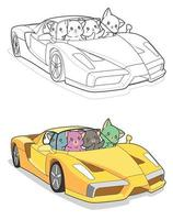 kawaii katten in super auto, cartoon kleurplaat voor kinderen