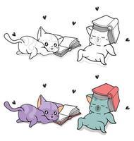 schattige kattenkarakters met tekstboeken, cartoon kleurplaat voor kinderen