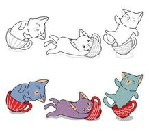 schattige kat in kopje koffie, cartoon kleurplaat voor kinderen