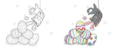 konijntjeskat valt op eieren, kleurplaat voor kinderen