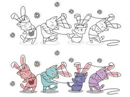 konijntjeskatten verstrikt in een touwtje, kleurplaat voor kinderen