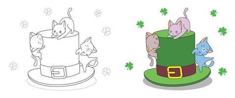 katten met hoed op saint patrick day, kleurplaat voor kinderen