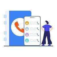 telefoon contacten app concept vector