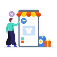 m-commerce of mobiel winkelconcept vector