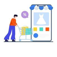 mobiel winkelen app-concept vector