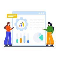 gegevensverwerking en analyseconcept vector