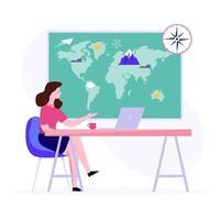 vrouw in geografie concept vector